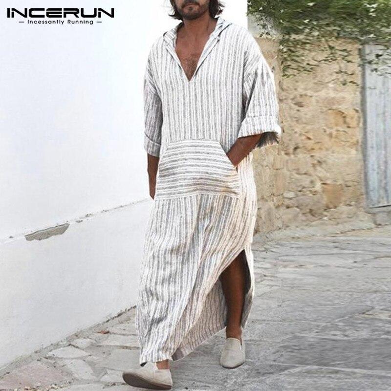 Muslim Style Mens Dress Kaftan Robe White Striped Long Shirts Islamic Arabe Bathrobe Lounge Gown Masculino Abaya Arab Clothing