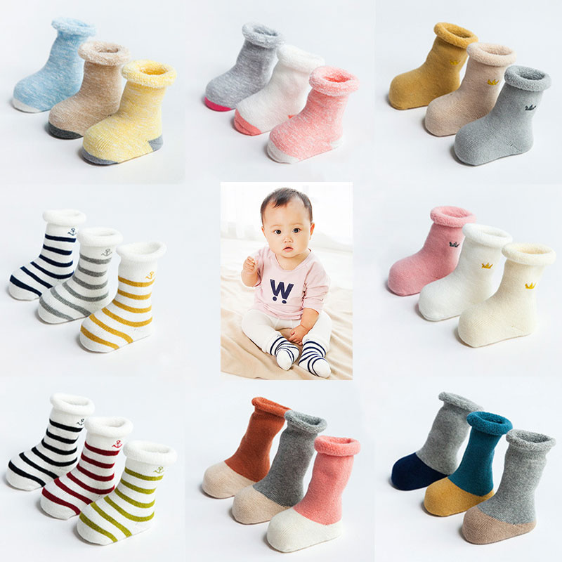 3Pcs Autumn And Winter Thickening Terry Cotton Baby Socks In The Tube Loose Mouth Soft Warm Baby Socks Striped Children Socks