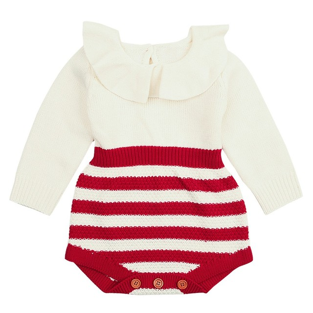 81bdbd9b4 Knitted Striped Bodysuit Newborn Infant Baby Boy Girl Weave Peter ...