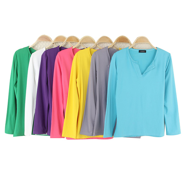 HTB1.irvxiCYBuNkHFCcq6AHtVXaq - Women Korean t shirt Basic V Neck Long Sleeve Fitted Plain Top Solid Stretch Shirt