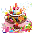 (98 pcs/set) Children Birthday Cake Toys Pink Kids Birthday Gift Toy Play Simulation 3 Layer Music Cake Children Kitchen Toys