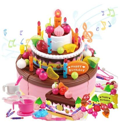 98 Pcs Set Children Birthday Cake Toys Pink Kids Gift Toy Play Simulation 3 Layer Music Kitchen