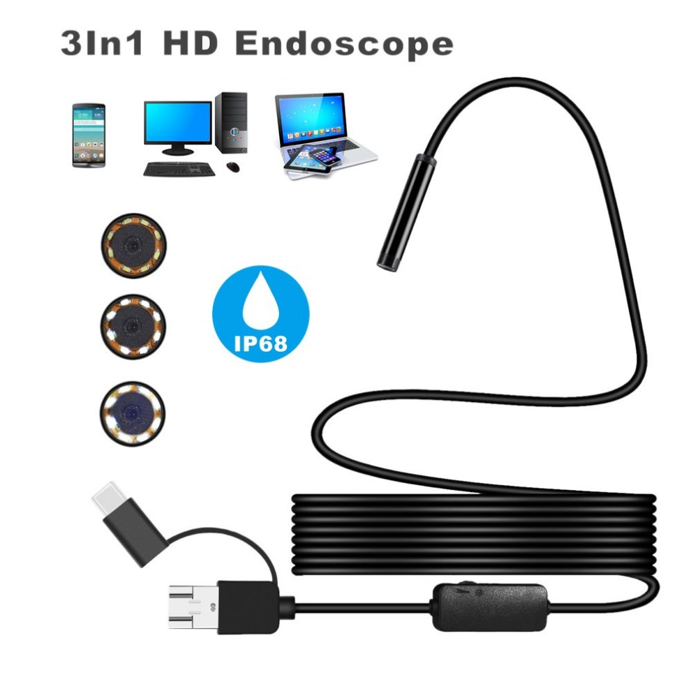 1200P IP68 Android 8MM Micro USB Type-c USB 3-in-1 Computer Endoscope Borescope Tube Waterproof USB Inspection Video Camera volemer 3 in 1 wifi video endoscope waterproof 8mm lens type c usb endoscope for smartphone wireless tube snake borescope camera
