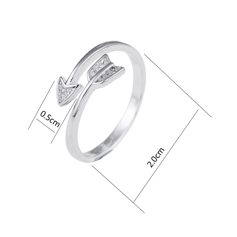 100 925 sterling silver romantic Cupid s arrow of love shiny zircon ladies finger wedding rings jewelry women gift ring in Engagement Rings from Jewelry Accessories