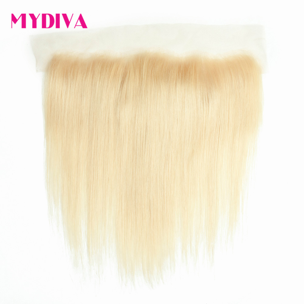 Mydiva 613 русый Кружева Фронтальная застежка бразильские прямо 13x4 Siwss кружева с волосами младенца 100% человеческих волос