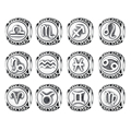 Vintage 925 Sterling Silve Aquarius Star Sign Zodiac Beads Charms fit Bracelets DIY Twelve Constellations Accessories PSC048