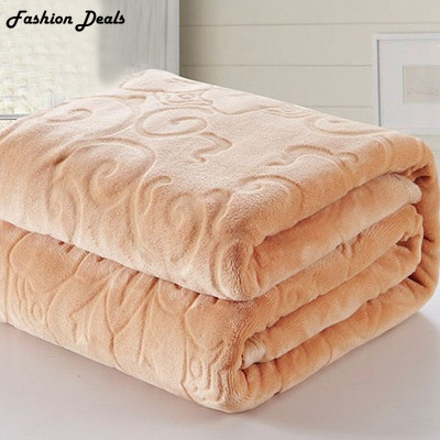 Home Textile Red Color Coral Fleece Blanket Europe Thick Embossed - Home Textile - Photo 3