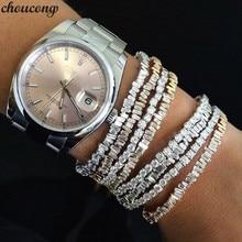 Choucong brazalete Baguette en 6 colores, 5A, piedras de Cz, oro blanco, pulseras para fiesta, accesorios de boda para mujer y hombre