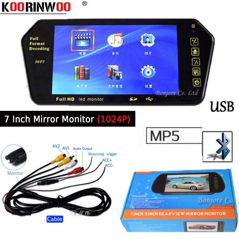 Koorinwoo 7 Inch TFT LCD Player Colorful Car Mirror Monitor 1024 600 FM MP5 Bluetooth SD