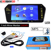 Koorinwoo 7 Inch TFT LCD Player Colorful Car Mirror Monitor 1024*600 FM MP5 Bluetooth SD/USB Slot For Rear view camera Parking