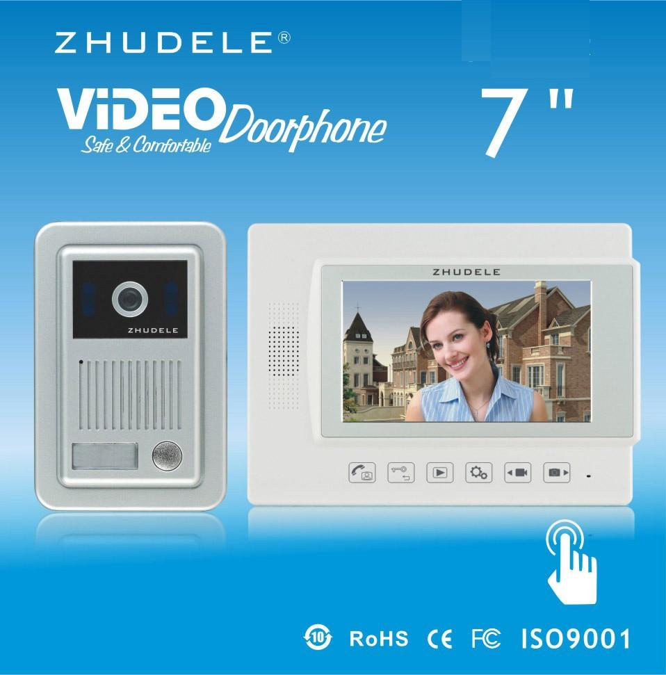 ZHUDELE Home security 7 video door phone metal die-casting ,waterproof explosion-proof HD IR camera,Recording function 1 V 1