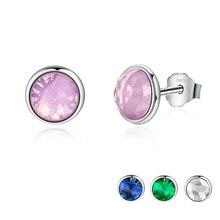 Hot April Birthstone Droplets, Rock Crystal Stud Earrings 100% 925 Sterling Silver For Women Fine Jewelry