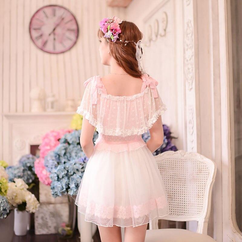 Sucrerie Mousseline Condole Dentelle De C16ab6033 Pluie Robe Ceinture D'été Princesse Soie Épaule Lolita Style Mignon Rosée Sweet Japonais 6qwZI1I