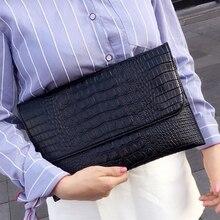 DOYUTIG Marke Frauen Umschlag Abend Kupplung Taschen Schwarz Krokodil Muster Weiblichen Echtem Leder Schulter Taschen Tag Kupplungen A1210