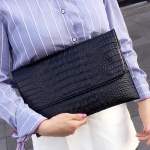 Image 1 - DOYUTIG מותג נשים מעטפת ערב מצמד שקיות שחור תנין דפוס נשי אמיתי עור כתף שקיות יום מצמדי A1210