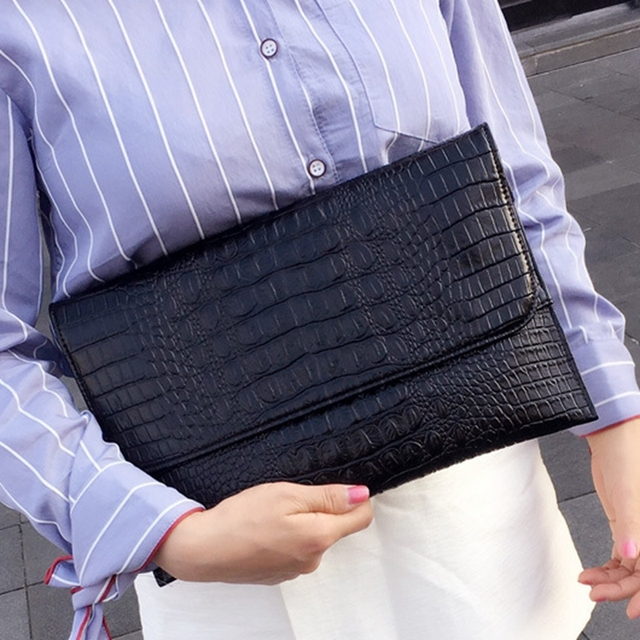 DOYUTIG מותג נשים מעטפת ערב מצמד שקיות שחור תנין דפוס נשי אמיתי עור כתף שקיות יום מצמדי A1210