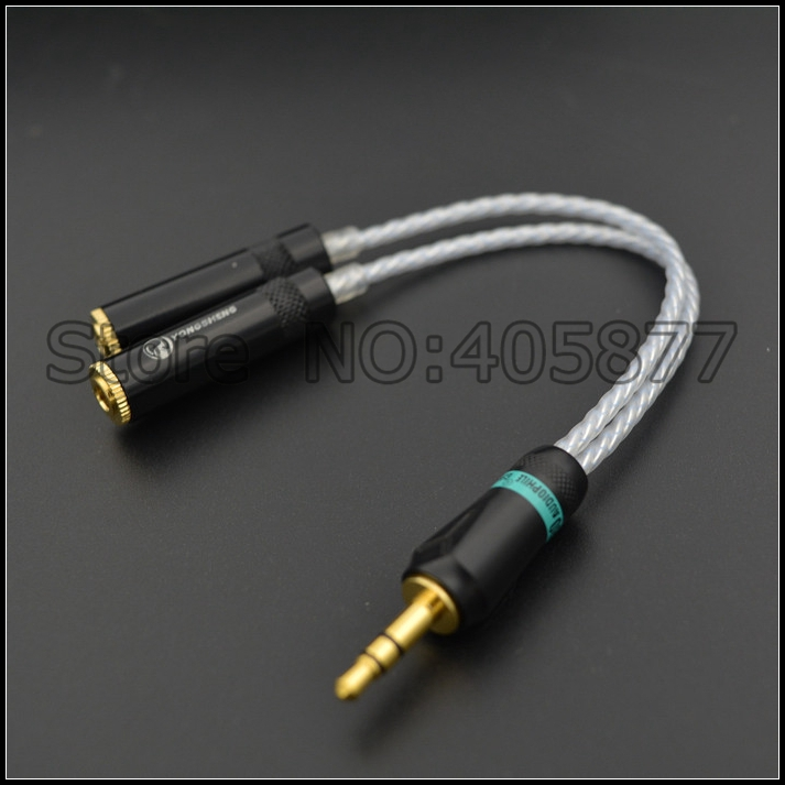 Hi-End audio silver plated 3.5MM male to 2 Female Headphone Extension Cable 0.3M 1FT audio cable hifi headphone cable цена и фото