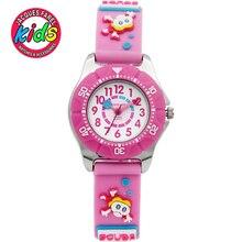 JACQUES FAREL Niños Niños relojes de moda lindo simple reloj resistente al agua de los Relojes de pulsera de Cuarzo Rosa Flor Niña de Natación