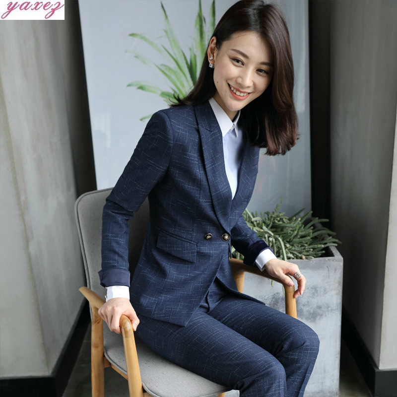 Autumn And Winter Wollens Hotel Reception Jewelry Store Sleeve Work Clothes Beauty Salon Violet Occupation OL Suit Dress Gothic