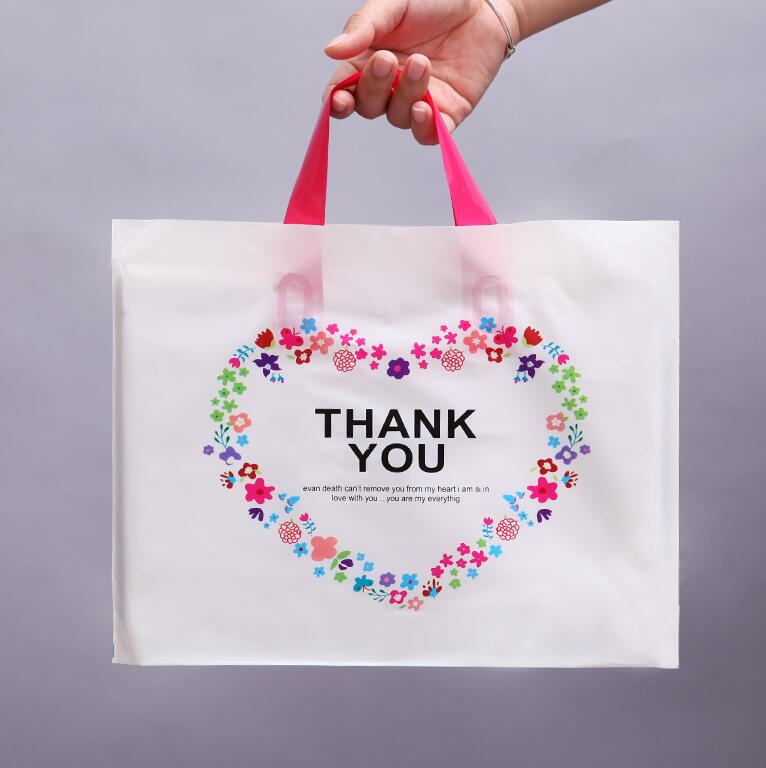 28*33cm  Thank You  Packing Bag with Handle, Plastic Transparent Storage bags for Jewelry Packing