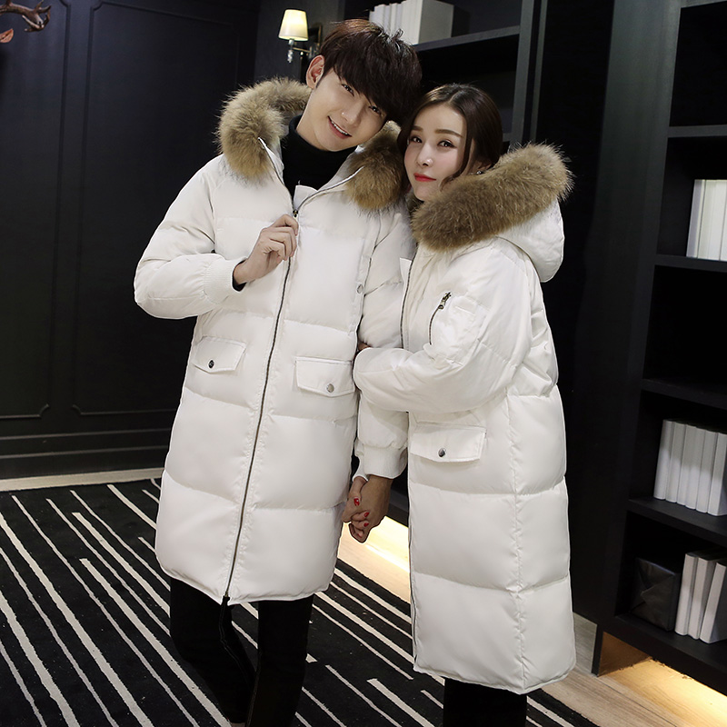 2018 New Fashon Couple's Duck   Down     Coat   & Jacket with Real Large Fur Hooded Lover's Thick Parka White Black Army Green XXXL 3XL