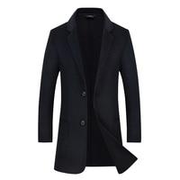 Free Shipping Europe Style Men 70% Wool Coats Winter Long Casual Windbreaker Slim fit Men Woolen Coat Grey Black Manteau Homme