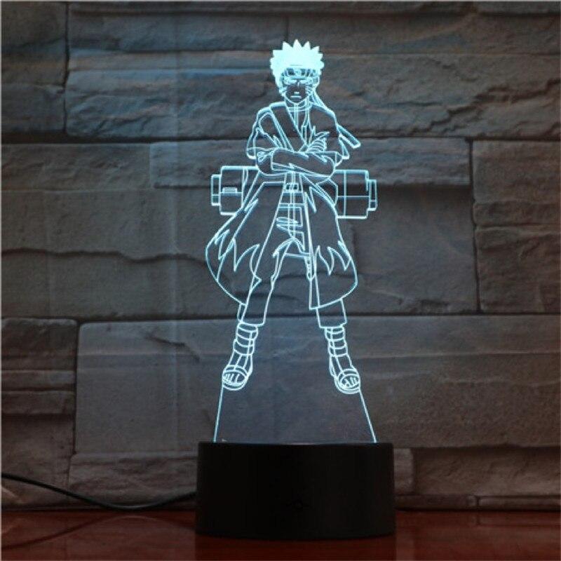 Lampara 3D Naruto Uzumaki Naruto Figura de Ação Cor Creativo Mudança CONDUZIU a Lâmpada de Cabeceira Mesa de Luz Brinquedo Anime Iluminação Luminaria