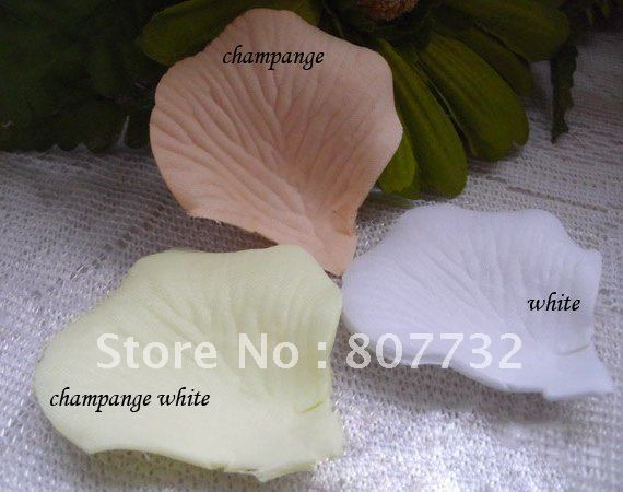 High Quality Artificial Rose Petals. White, Champagne, Ivory (Mix 3 Colors), 1200pcs/pack , Romantic Wedding