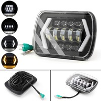 For Jeep XJ MJ Toyota Celica Nissan 240SX s13 Auto DRL Headlamp5 x 7 7x6 90W Square with Angel Eyes High/Low H4 LED Headlight