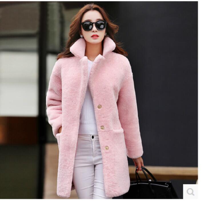 blanc Manteau rose Longue gris noir Fourrure D'agneau D'hiver Imitation 2017 Automne Et Une Rouge Section Nouvelle Laine De URqYpAw1