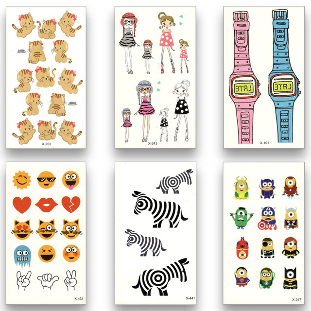 12 Sheets Temporary Fake Tattoo Waterproof Water Transfer Lovely little cartoon pattern Cat Stickers Beauty Body Art for kids