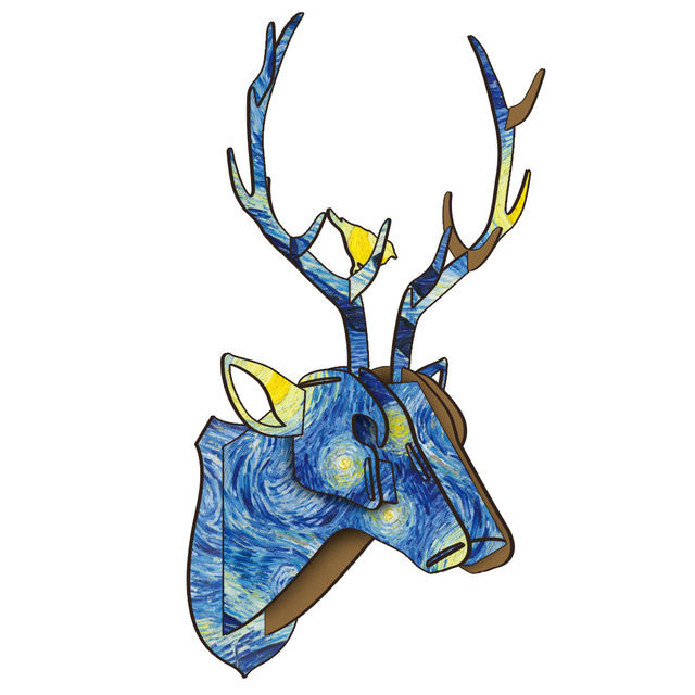 DIY 3D Wooden Animal Deer Head Art Model Home Office Wall Hanging Decoration Storage Holders Racks Home Decoration Accessories 3