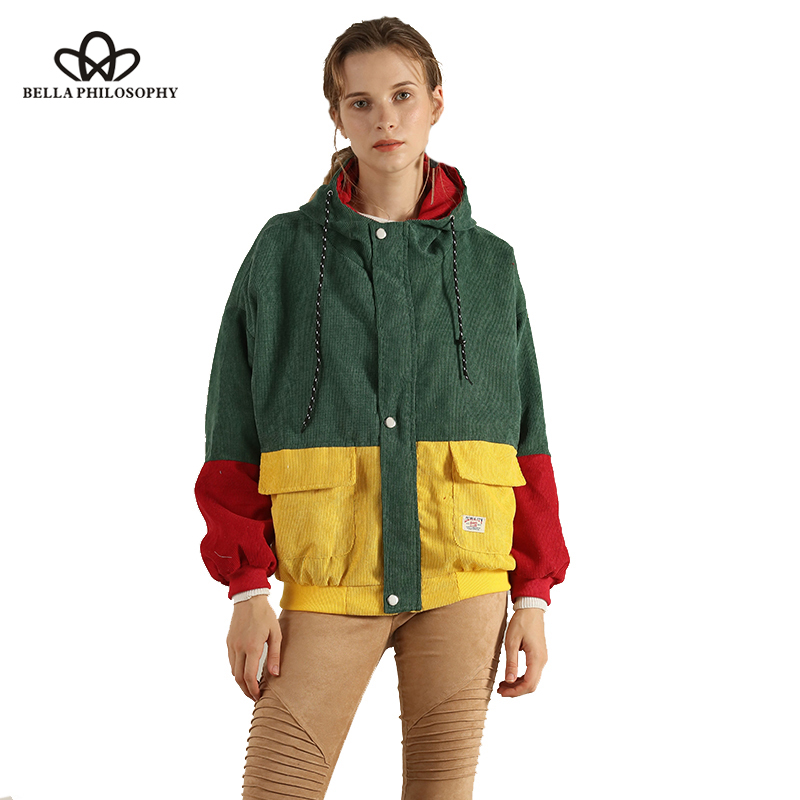 HTB1.itfXEzrK1RjSspmq6AOdFXa5 Bella Philosophy Long Sleeve Corduroy Women jacket Spring women Jacket plus size women Zipper female coat color block Patchwork