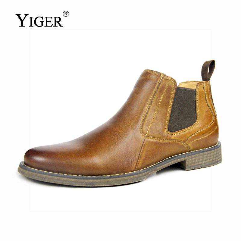 YIGER New font b Men s b font Chelsea Boots Ankle boots Genuine Leather Man boots