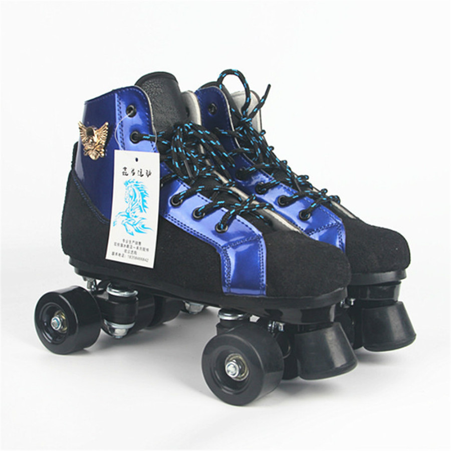 Roller Skates Black Blue Skull head With PU Wheels Double Line Skates Adult 4 Wheels Two line Roller Skating Shoes Patines vik max adult kids dark blue leather figure skate shoes with aluminium alloy frame and stainless steel ice blade