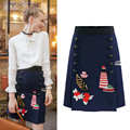 2016 Winter S M L XL Size Luxury Pencil Skirt Women Lolita Style Cute Character Button Design Skirt Printing Sliming Vestidios
