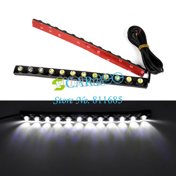 Super White 2X Car DIY 12 LED Driving Daytime Running Light Bar LED Car Light Soft Head Lamp TK0003