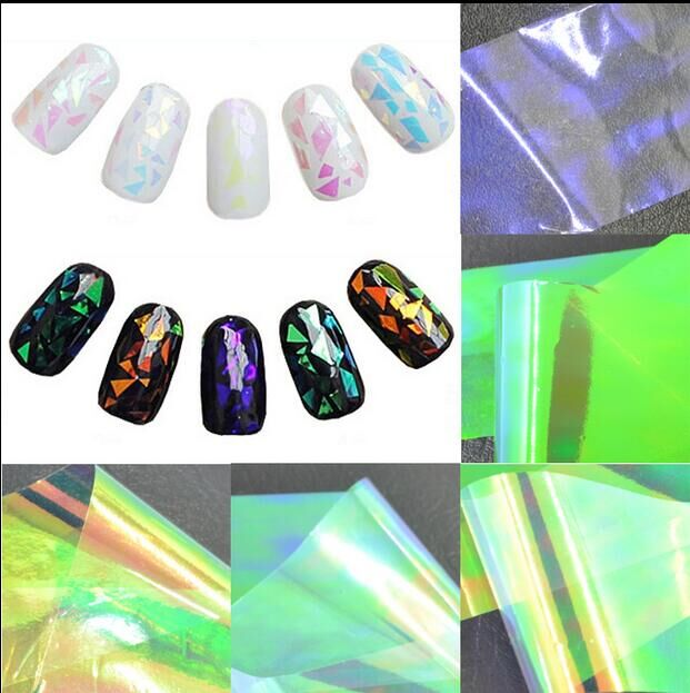 New Arrival Holographic DIY Glass Finger artificial nails Foil Decal artificial nails stickers 1 roll artificial nails
