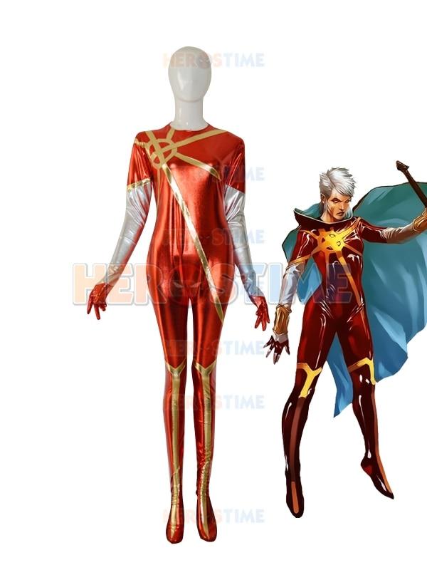 Martyr Phyla-Vell Marvel Superhero Costume Captain Marvel Female Superhero Shiny Metallic Cosplay Halloween Costume