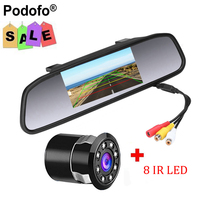 4 3 TFT LCD Car Parking Rearview Mirror Monitor 2 Video Input For Rear View Camera