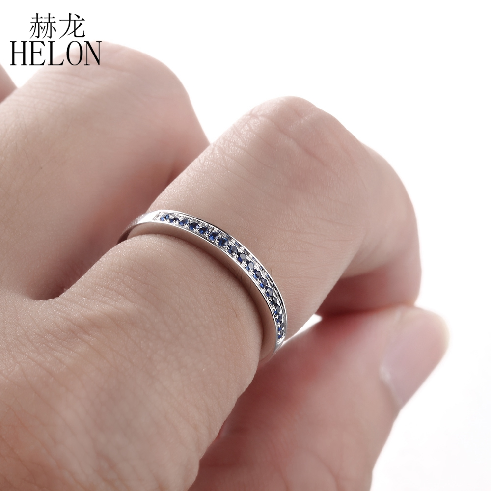 HELON Sterling Silver 925 100% Genuine Natural Sapphire Engagement ...