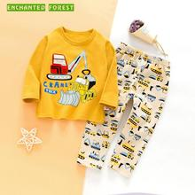 Childrens suit spring and autumn childrens clothing cartoon pajamas set gold velvet boy girl baby