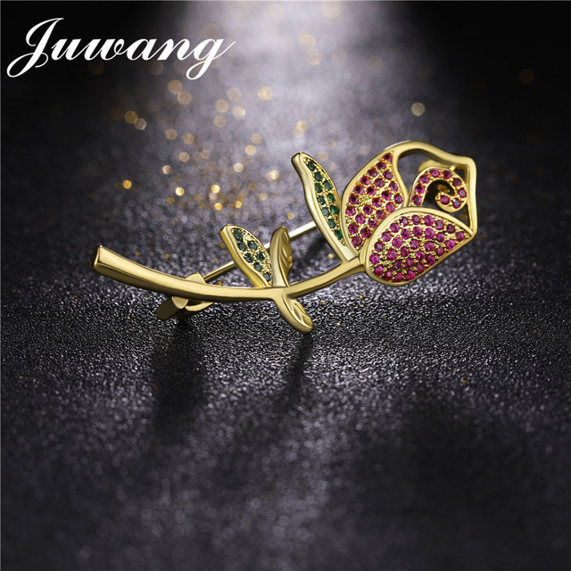 JUWANG Fashion Rose Flower Red CZ Crystal Magnetic Scarf Brooches Pins for Woman Girl Fashion Jewelry Mother Gift Wholesale