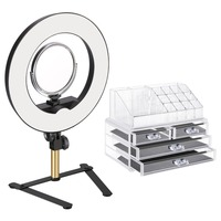 Neewer Tabletop Ring Light Makeup Kit 14 inch Outer Dimmable LED Ring Light with 2 Side Mirror/Support Stand/Storage Display Box
