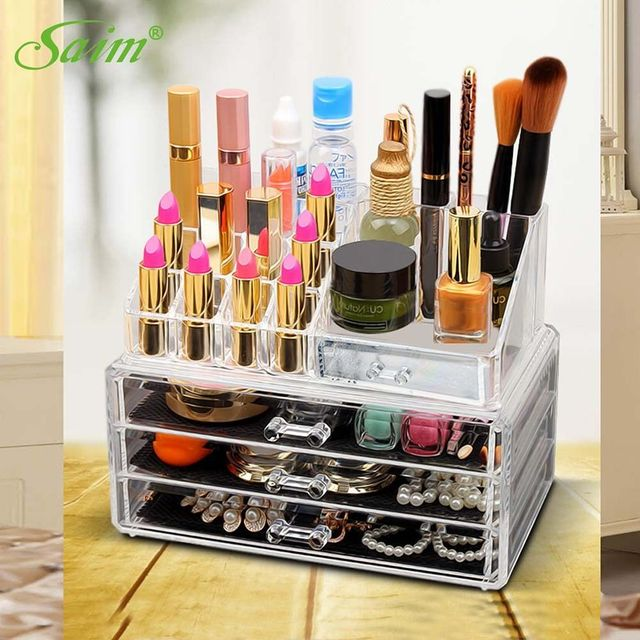 92 Large Makeup Organizer Jewelry Box Crystal Jewelery Lipstick