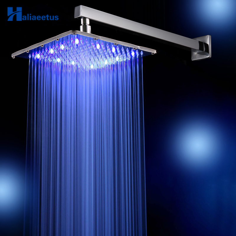 12 inch 3 Colors changing square rainfall shower head Wall Mounted head shower include shower arm