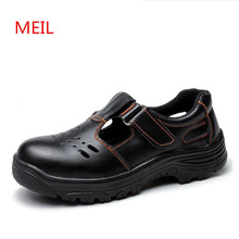 Mens Work Safety Shoes Steel Toe Working Leather Shoes Men Breathable Anti