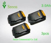 3pcs 18V 3000mAh Rechargeable Li-ion Battery Replacement for DEWALT DCB200 DCB201 DCB203 DCB204 DCB181 DCB182 DCB180 Power Tool
