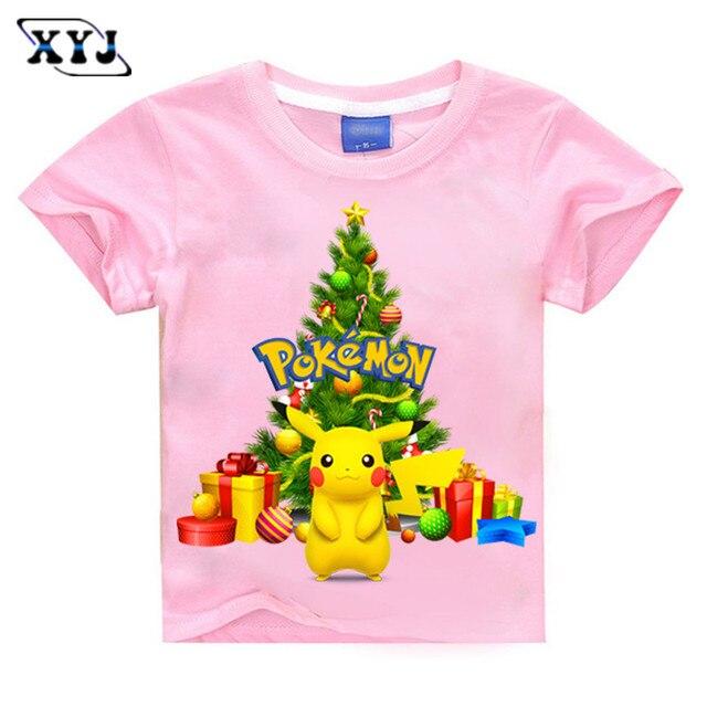 2016 Arbre De Noel T Shirt Pokemon Filles T Shirts D Ete Chemises