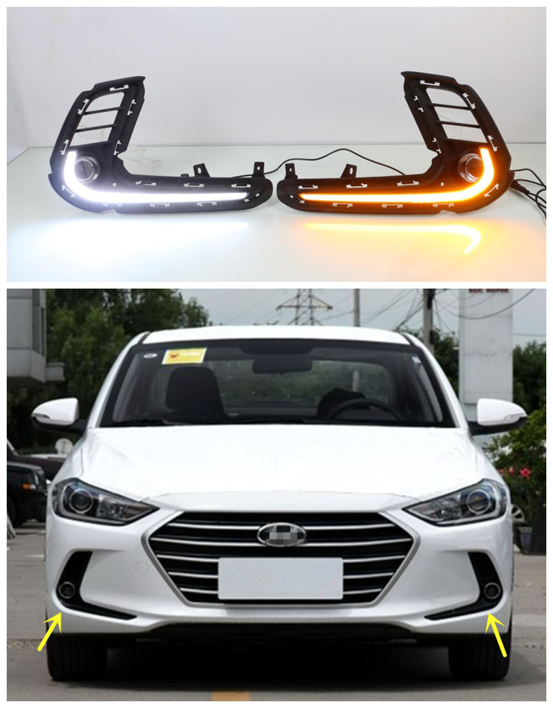 12V Car LED DRL Daytime Running Light Fog Lamp Cover With Turn Signal Light For Hyundai Elantra 2016 2017